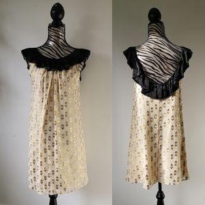 NWT Anthropologie silk metallic shift dress